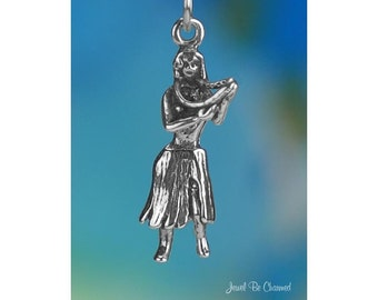 Sterling Silver Hula Dancer Charm Hawaii Vacation Dance 3D Solid .925