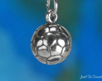 Solid Sterling Silver Soccer Ball Charm Sports Team Equipment 3D .925