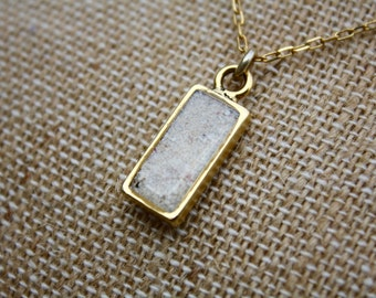Custom double sided rectangle Sand Necklace