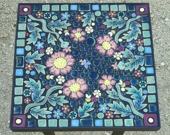 "16"" Square, floral garden mosaic tile table. Handmade ceramic outdoor art tiles."