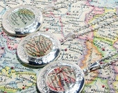 CUSTOM Vintage Map Locket. You Pick City, State, or Country Worldwide. One Locket. Map Jewelry. Christmas Gifts. Stocking Stuffer Christmas.