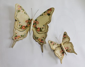 "Vintage Large Dimensional Wooden Butterflies in cream color 16 1/2"" x 15""  smaller one is 8"" x 9"" Ideal for a shabby cottage chic look"