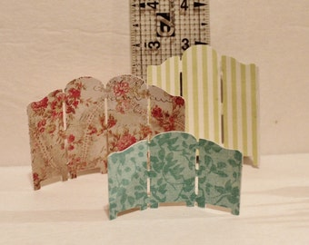 Petite Dollhouse Miniature Paper Folding Screen - set of 3