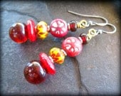 Translucent Red Lampwork Glass Earrings, Trade Bead Earrings, Rustic Indian Clay Beads, Indian Glass, Recycled Glass, African Jewelry