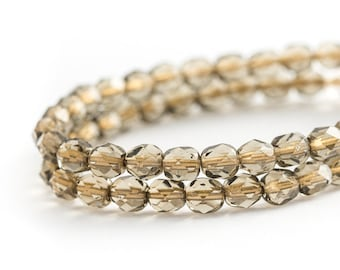 NEW Gold Lined Light Smoky Topaz Faceted Round Spacer Beads, Transparent Fire Polished Czech Glass (6mm) x 25