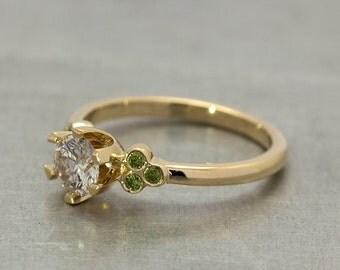 Diamond Engagement Ring Solitaire Diamond Ring 18k Yellow Gold Diamond Ring Engagement