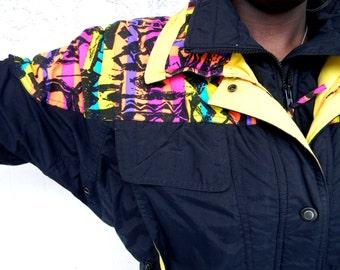 Vintage Ski Jacket - 90s Black Puffer Skiwear Jacket with NEON Rainbow Tribal Print Panels - Size 8 10 Medium M - Fresh Prince Ski Coat