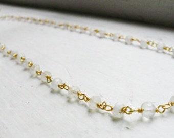 Moonstone gold vermeil chain necklace