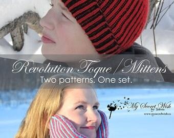 """Instant Download 2-PATTERN PDF - Unisex Men's, Women's, Children's Hat and Mitts, """"Revolution Toque/Mittens"""" Brioche-Knit for 5 sizes"""