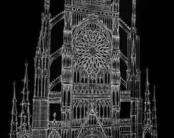 Dark Cathedral Art Poster - Ex Cathedra 20x30 Fine Art Religious Architectural Print - Gothic Cathedral Drawing
