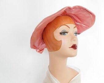 1950s pink hat, vintage sweetheart poke crown