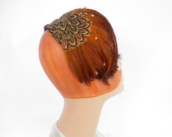 Vintage feather halfhat, 1960s pheasant headband, asymmetrical
