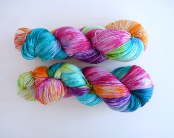 "Hand dyed merino yarn - Light Fingering 3 ply superwash 19 micron merino yarn, Boniqueta base - Colourway ""Tie Dye"""