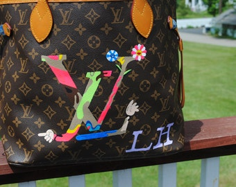 New Custom Hand Painted  LV Louis Vuitton hand bag ----- customer supplied the bag--sold