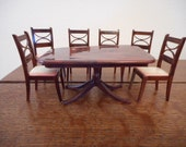 Renwal Dollhouse Furniture Vintage Dining Room Table #D51 and 6 Dining Room Chairs #D53 Federalist or Duncan Phyfe style c.1940s-50s