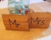 Set of Mr. and Mrs. Wedding Table Signs