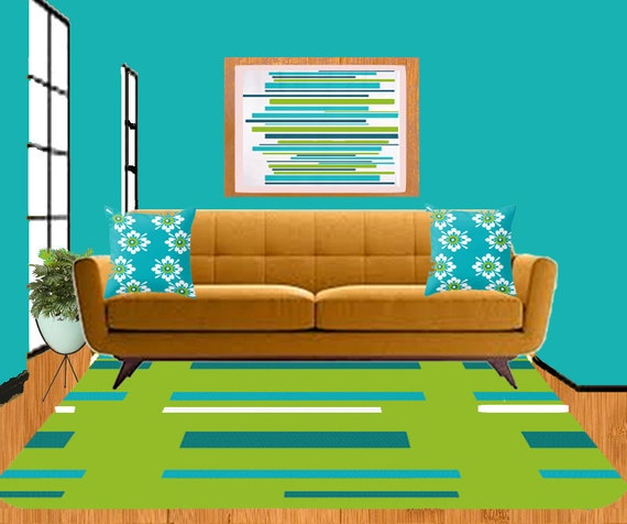 Modern Green Turquoise Area Rug by Crashpaddesigns