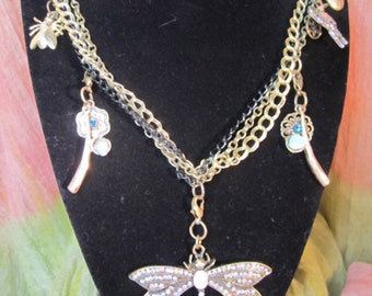 Crystal Dragonfly Charm Necklace