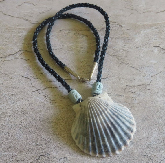 Kumihimo Braided Necklace Blue & Black Sea Shell Pendant Handmade