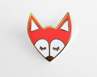 Fox Enamel Pin - Sleepy Gold Fox Lapel Pin
