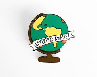 Adventure Awaits Globe Enamel Pin - World Map Globe Pin