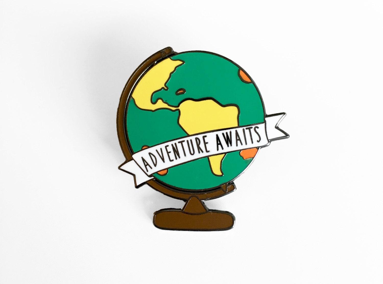 Adventure Awaits Globe Enamel Pin World Map Globe Pin