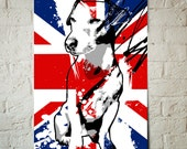 Jack Russell Terrier, Pop Art, dog art illustration in union jack, red, white and blue, Poster size print available in multiple sizes.