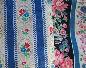 Bundle of Vintage French 1940s Boudoir Ticking Fabric Pieces material Blocks Textile
