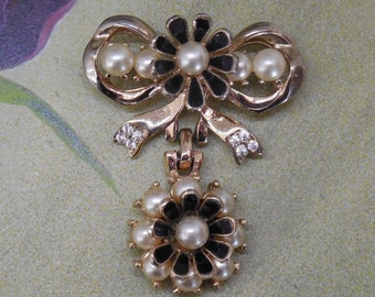 Signed BARCLAY Gold Dangling Flower Bow Brooch