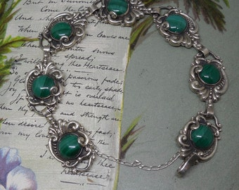 Signed 950 Sterling Silver Link Bracelet w/Malachite by Melesio Rodriguez    NA8