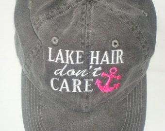 LAKE HAIR don't CARE Baseball Cap-Washed Charcoal