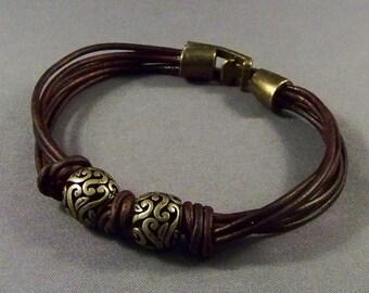 Leather Bracelet-Antique Brass Bracelet-Brown Bracelet-Women Bracelet-Friendship Bracelet-Wrist Bracelet-Friendship Gifts-Boho Bracelet