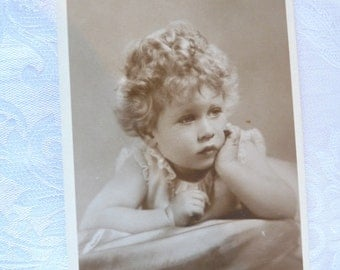 Deep in Thought ~ Real Photograph Royal Postcard Princess Elizabeth as a Young Child in 1920s