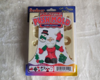 Sculpey Clay Push Mold Kringle and Snowman APM12, Christmas Clay Push Mold, Santa Clay Push Mold