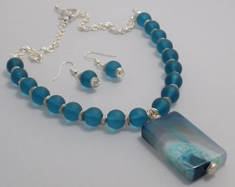 Turquoise Sea Glass Beads with Turquoise Agate Drusy Pendant Silver Necklace & Earring Set, OOAK, Artisan