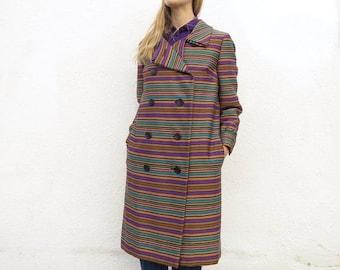Wool Jacket Coat Striped 60s M