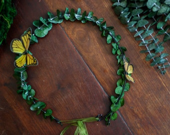 Eucaliptus baby green leafs Flower crown butterflies tiara bridal circlet romanthic celtic butterfly druid wiccan druidic pagan paganism