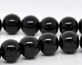 10mm Black Glass Pearl Imitation Round Beads - 16 inch strand