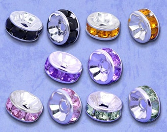100 pcs Assortment Rhinestone Rondelle Spacer Beads - 8x4mm