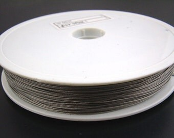 1 Roll - 70M - Antique Silver Grey Gray Tiger Tail Cord - 0.35mm (27 gauge) - Steel Wire