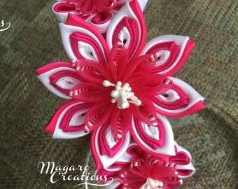 Pink headband,kanzashi,hair accessory,girl headband,headband for girl,flower headband,headband with flowers,infant headband,headband.