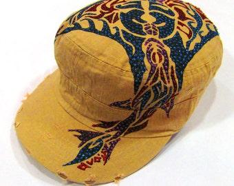 NZ Maori Sting Ray Tattoo Inpired Hand Painted Military Beige Hat