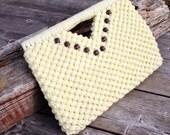 Macrame Clutch Purse, Cream Handbag, 70's Accessories, knit Purse, Crochet Clutch Handbag, Disco Purse, 1960s, 1970s,