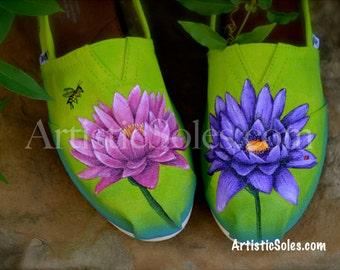 Custom Painted TOMS Shoes | Lotus Flowers | Hand Painted | Custom Shoes
