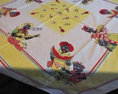 SUMMERTIME BLACK AMERICANA Cotton Tablecloth Vivid Colors Cook Pie Banjo Player Watermelon, Red Yellow Green 54 by 48 Vintage, Free Shipping