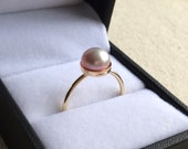Purple pink freshwater pearl ring in 14K Gold Filled setting size 8