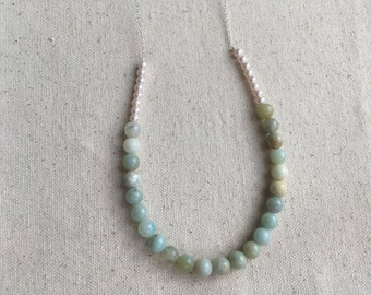 SALE Natural stone Amazonite round beads & glass pearls on Sterling Silver chain | FREE gift wrapping