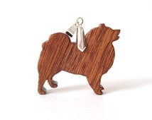 Keeshond Jewelry Wooden Dog Pendant Necklace Dog Breed Jewelry Wood Pendant Sapele