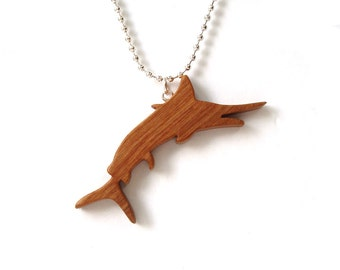 Cherry Marlin Necklace Wood Sporting Fish Scroll saw Pendant Deep Sea Sports Fishing Jewelry
