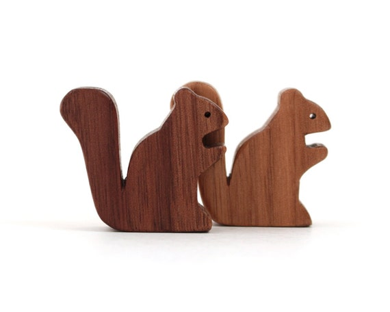 Wooden Squirrel Toy Waldorf  Miniature Animals Noah's Ark  Zoo Woodland Play Set Hand Cut Scroll Saw Walnut